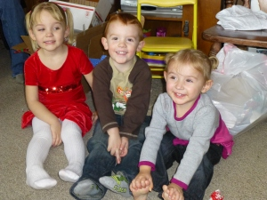 Elena with cousins Denali and Esten, Christmas Day.