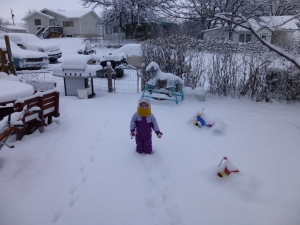 Elena in the snow this morning - it was a whopping 10 degrees out!