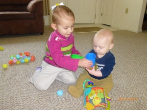 e is loving playing with her baby brother now that he's a bit more interactive!