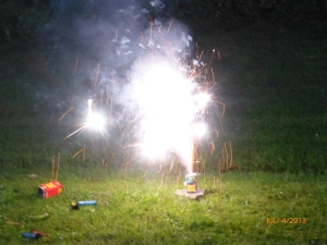4th of July evening, we purchased some small fireworks and shot them off at home with my folks. E's favorite part of the day - by far!