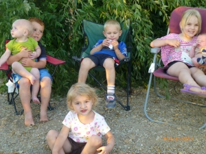 ::Trying to get a good pictures of six kids under 4 is... interesting. L-R: Joseph sitting with Esten, Esten's best friend Jackson (not a cousin), Denali with baby brother Conner, and Elena in the front row.