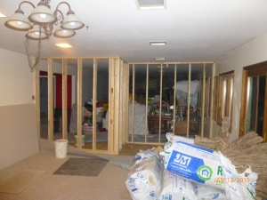 The downstairs - this is the new wall dividing the two homes (living area).