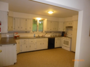 Nice, spacious kitchen (this was pre-existing). The door handle in the very left of the picture opens to reveal the stacked washer/dryer.
