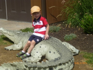 He had to sit on the crocodile. He was disappointed they only had baby ones.